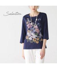 【Selection】 シルケットスムース 転写刺繍プリントTシャツ