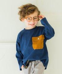 異素材ポケット付き長袖Tシャツ(80~150cm)