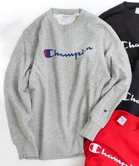 【女性にもオススメ】【WEB限定】Champion(チャンピオン)ロゴプリントベーシッククルーネックスウェットトレーナー(C3-Q002)