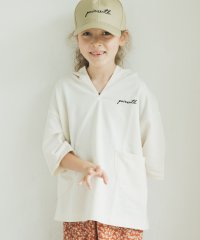 ミニ裏毛 スウェット ポケット付き  5分袖丈 ロゴ 刺繍 パーカー