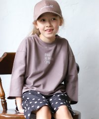 ミニ裏毛 スウェット 7分袖丈 ベーシックカラー 刺繍 ロゴ ビッグシルエット Tシャツ