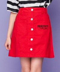 フロントボタンロゴ刺繍スカート