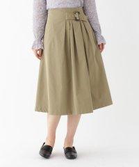 【洗える/Lサイズあり】ベルト付きアシンメトリーフレアスカート