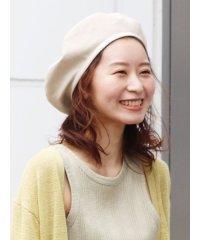 リネン混パイピングベレー帽