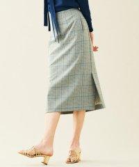 グレンチェックジャージー サイドスリットスカート
