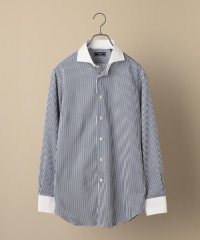 SD: ストライプ ネイビー ホリゾンタル クレリックシャツ