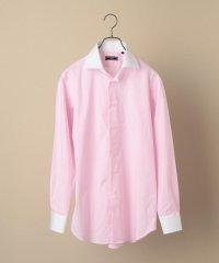 SD: イージーアイロン ピンク ワイド クレリックシャツ