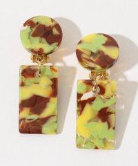 FRANCINE BRAMLI PARIS YELLOW GREEN MARBLE イヤリング