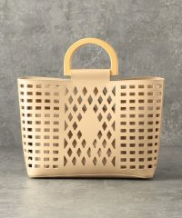 【CACHELLIE】ECO LEATHER*WOODHANDLE 2WAY TOTE