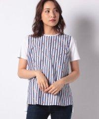 【MONTI 】異素材MIXのストライプTシャツ