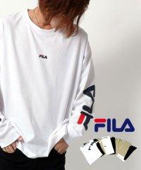 【FILA】フィラ ビッグシルエット ミニロゴ刺繍 袖ロゴプリント バックロゴプリント 切替え 長袖Tシャツ 春 ユニセックス