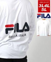 【FILA】フィラ 大きいサイズ ビッグシルエット ミニロゴ刺繍 バックロゴプリント 長袖Tシャツ ロンT 春