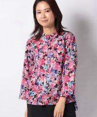 【mizuiro ind】flower print henry neck shirt