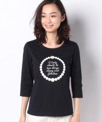 【洗える】コットン天竺 プリント七分袖Tシャツ