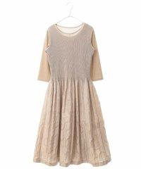 シャーリングドットドレス