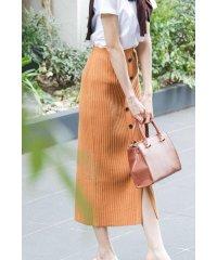 |CanCam 6月号掲載|フロントボタンリブナロースカート