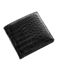 クロコダイルレザー折り財布シャイニング加工両カード