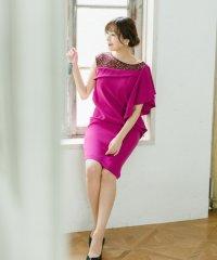 【ROSSO】アシメフリルショルダーレースドレス