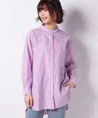 【WAREHOUSE】スタンドカラーストライプロングシャツ