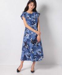 麻混ボイル フラワープリントドレス