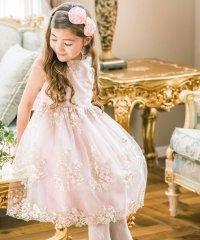 花刺繍チュールレースドレス (120-160cm)