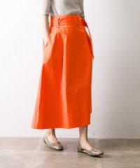 【UR】ベルト付カラーフレアスカート