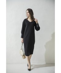 PEARL BUTTON VOLUME SLEEVE DRESS
