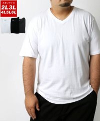 大きいサイズ 無地 パックT Vネック 半袖Tシャツ