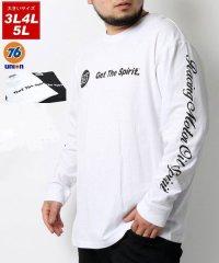【76Lubricants】セブンティーシックス 大きいサイズ ユニオン 袖プリント バックプリント 長袖Tシャツ 春 ロンT