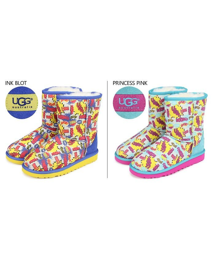 (UGG/アグ)UGG アグ ムートンブーツ クラシック ショート キッズ KIDS CLASSIC SHORT COMIC 1004868KK シープスキン/キッズ ピンク