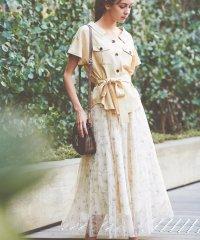 【steady.6月号掲載】【セットアップ対応商品】ドットフラワーチュールマキシスカート