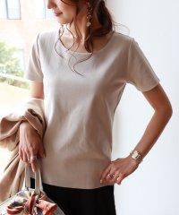 コットンクルーネックック半袖ダブルフロントTシャツ
