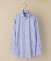 SD: ワンピースカラー イージーアイロン  ハケメ ブルーシャツ