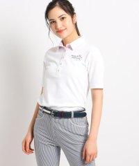【吸水速乾/UVカット】襟裏フラワープリント五分袖ポロシャツ