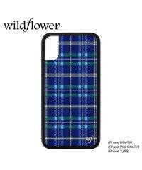 wildflower ワイルドフラワー iPhone 8 X XS 7 6 6s Plus ケース スマホ 携帯 アイフォン レディース チェック ブルー SK