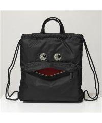 【ANYA HINDMARCH(アニヤハインドマーチ)】139182 クリスタルビジュー装飾 ナイロン 巾着 バックパック リュック トートバッグ BLACK