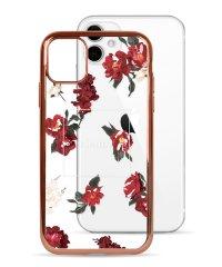 74490-1 iPhone 11 rienda[メッキクリアケース/Red Flower/レッド]