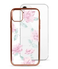 74490-2 iPhone 11 rienda[メッキクリアケース/Lace Flower/ピンク]