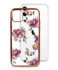 74490-3 iPhone 11 rienda[メッキクリアケース/Brilliant Flower/バーガンディー]