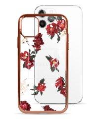 74489-1 iPhone 11 Pro rienda[メッキクリアケース/Red Flower/レッド]