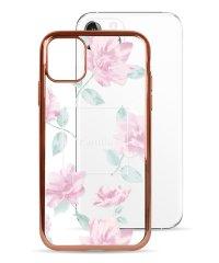 74489-2 iPhone 11 Pro rienda[メッキクリアケース/Lace Flower/ピンク]