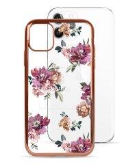 74489-3 iPhone 11 Pro rienda[メッキクリアケース/Brilliant Flower/バーガンディー]