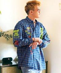 ロゴプリントBIGシャツ/長袖シャツ メンズ ビッグシルエット チェック ストライプ ロゴ