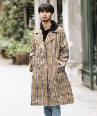 チェックオーバーサイズトレンチコート / トレンチコート スプリングコート メンズ トレンチ コート ロング丈 アウター
