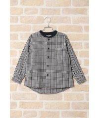 【キッズ】リブ使いチェックシャツ(120~160cm)