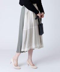 [soeur7] ドット×プリーツ 異素材スカート