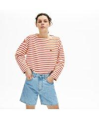 リラックスフィット ストライプデザインTシャツ (7分袖)