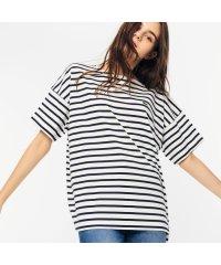 リラックスフィット ストライプデザインボートネックTシャツ