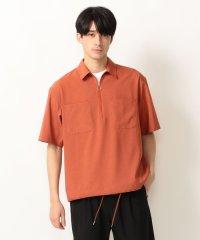 SHIPS any: 半袖 ジップアップ ビッグシルエットシャツ