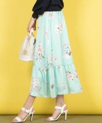 【WEB別注】《手洗い可能》カラーフラワー裾フリルフレアスカート